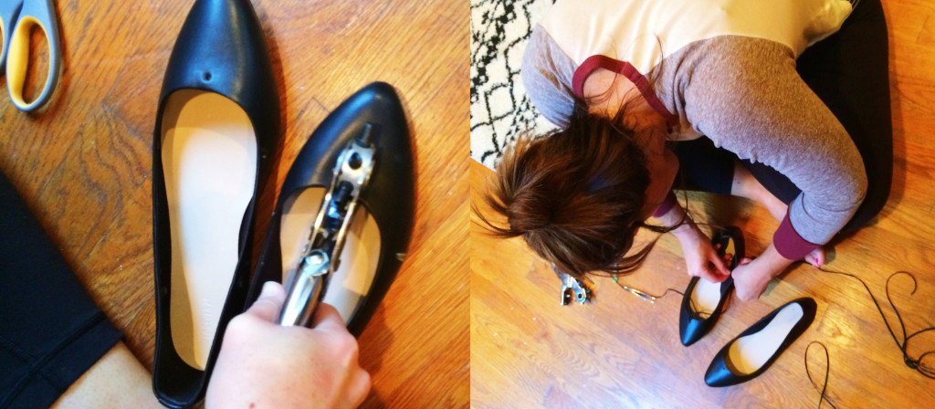 DIY Lace-Up Flats side by side