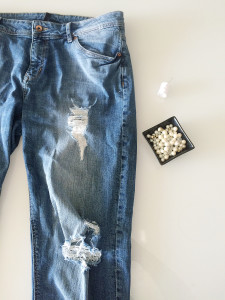 What you need for DIY Pearl Embellished Jeans