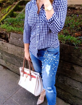 DIY Pearl Embellished Jeans Featured Image