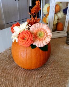 Pumpkin Floral Arrangement with daisies